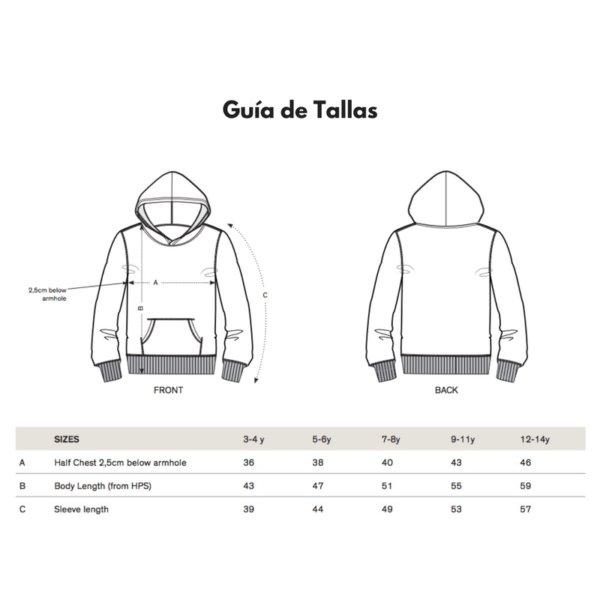 Guía de tallas Camiseta Capucha Niño