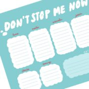 Planificador semanal A4 papel FSC Dont Stop me Now by Lyona