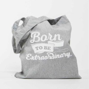 Tote Bag Gris Diseño Solidaria Born to Be Extraordinary