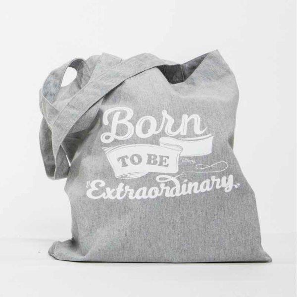Tote Bag Gris Diseño Solidaria Born to Be Extraordinary