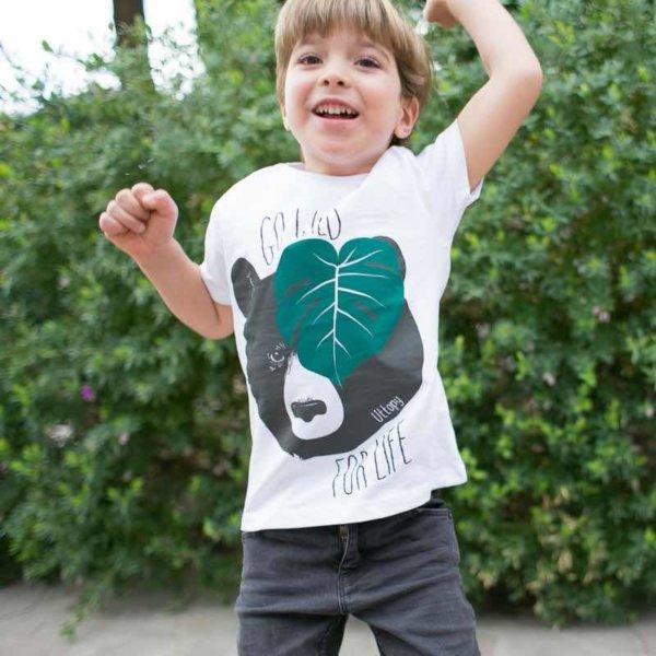 Camiseta niño blanca oso para proteger medio ambiente