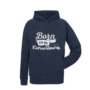 Sudadera Unisex con capucha Born to Be Extraordinary azul